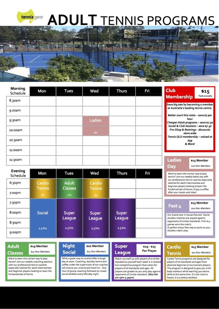 Adult Tennis 2017 Timetable
