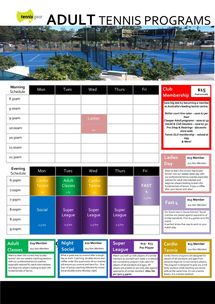 Adult Tennis Timetable Emerson 2017