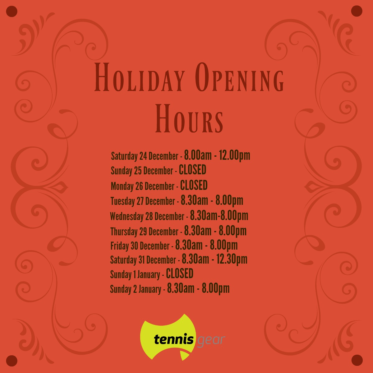 Emerson Holiday Opening Hours 2016