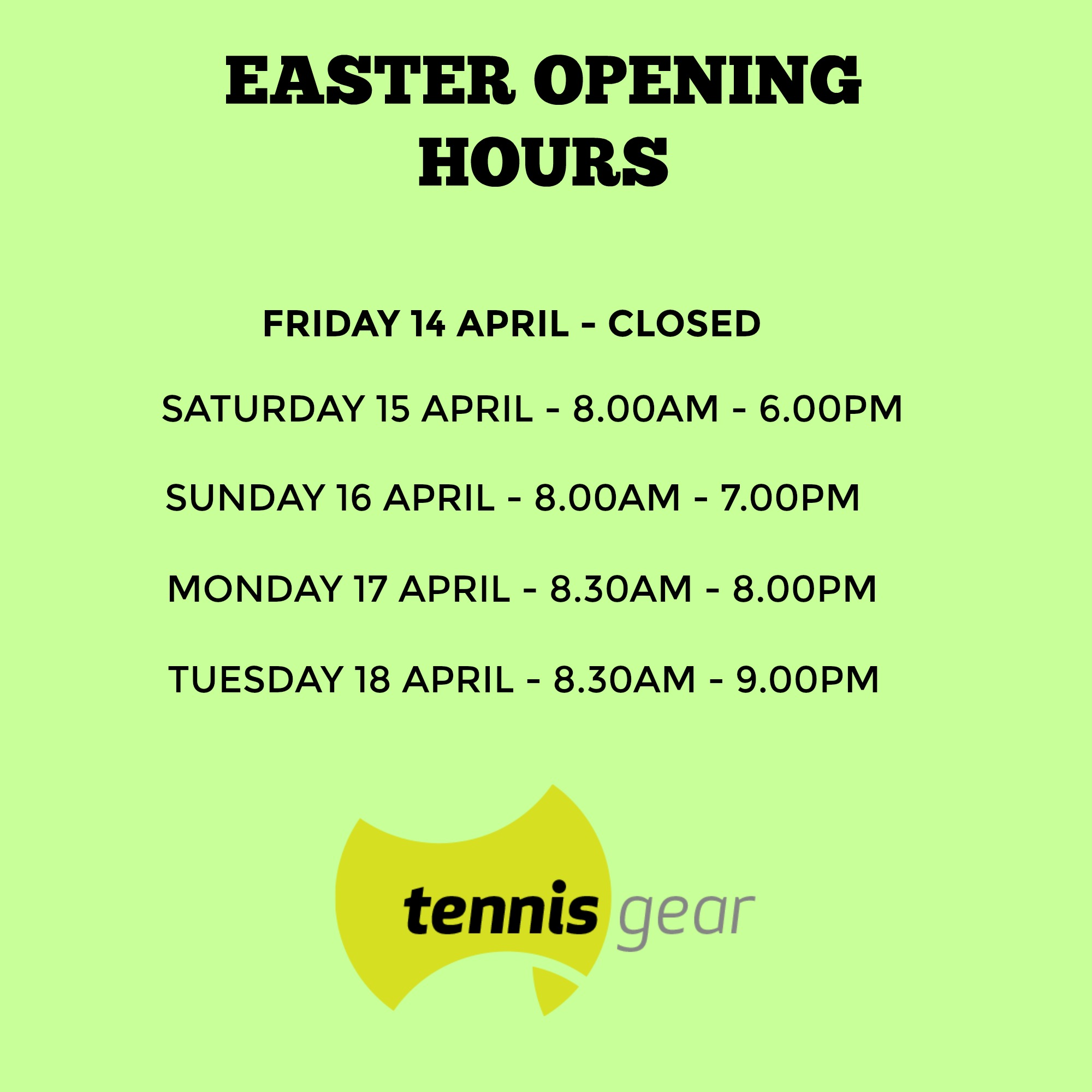 Easter Opening Hours 2017