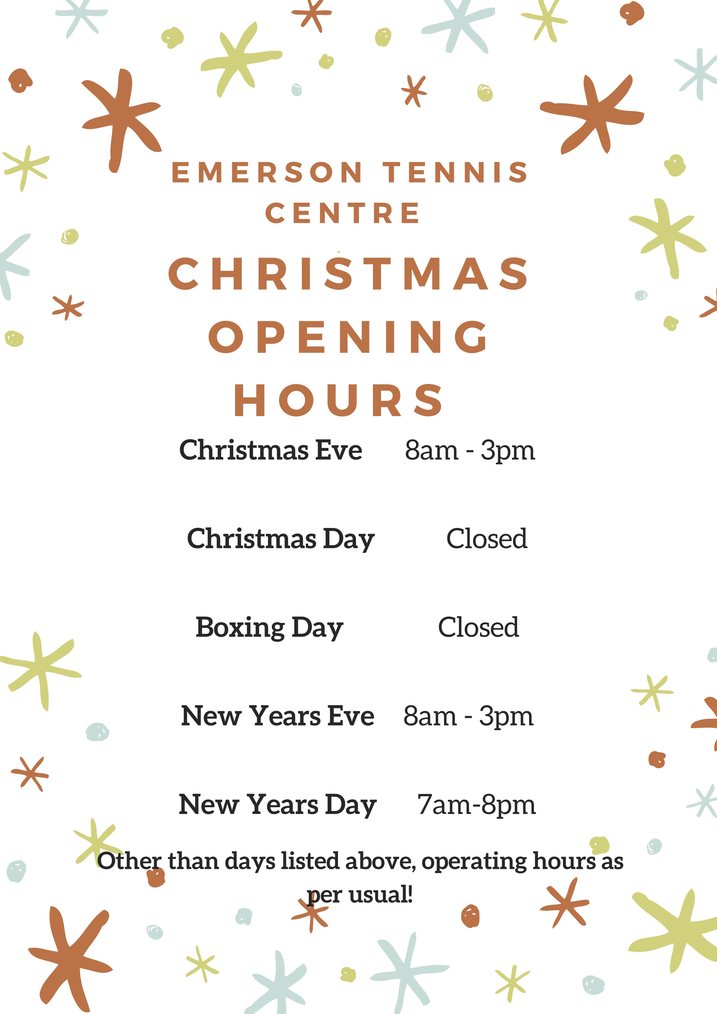 Christmas Opening Hours - Updated  copy